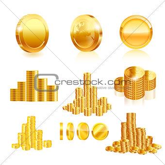 Gold coin set. Vector