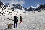 Two hikers with dog in spring snowy mountains