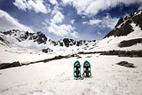 Snowshoes in snowy mountains