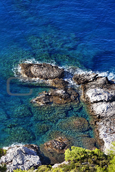 Top view on blue clear sea at sun day