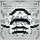 Vector Black Hand Drawn Rustic Ribbons, Banners Shapes