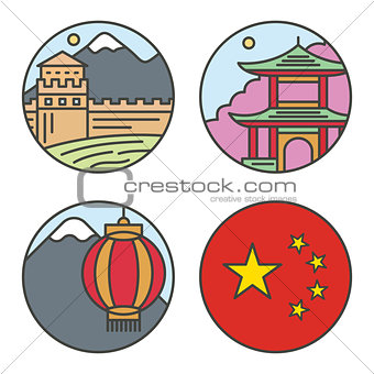 Country China travel vacation places in thin lines style design. Set architecture, nature background concept vector flat illustration