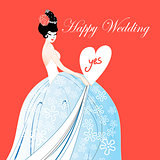 Wedding card with a lovely bride