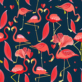 Graphic seamless pattern of red flamingo