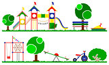 Kids playground color set. Swings, roundabouts trees and the children grass.