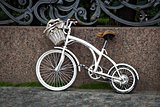 White vintage two-wheeled bike