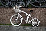White vintage two-wheeled bike