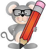Cute mouse with pencil
