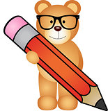 Teddy bear with pencil