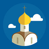 Russian Orthodox Cathedral Church flat illustration