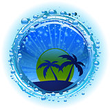 Water bubble border with evening sky and palm trees