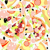 Pattern Seamless slices of different pizzas. vector illustration