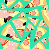Pattern Seamless slices of pizza on a blue background. vector il