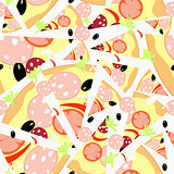 Pattern Seamless slices of pizza. vector illustration