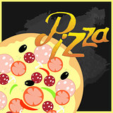 Pizza on a black chalkboard background. vector illustration