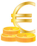 Sign euro and coins