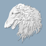 Side portrait of Russian borzoi in paper cut style