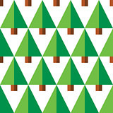 Geometric seamless pattern with green trees on white background