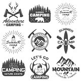 Set of camping equipment symbols