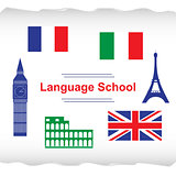 Language school poster, banner