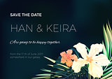 Wedding invitation or card design with exotic tropical flowers and leaves