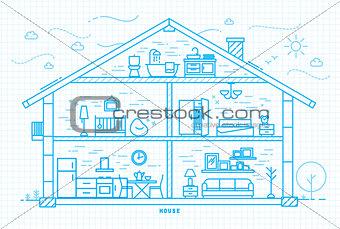 Flat house silhouette blue