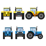 Yellow and blue tractors with big wheels.
