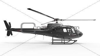 Black civilian helicopter on a white uniform background. 3d illustration.