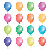 Set of 16 party balloons. Vector illustration.