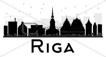 Riga City skyline black and white silhouette.