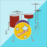 Drum kit on a two-tone background
