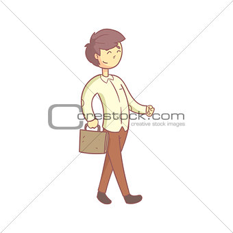 Office Worker Happily Going To Work