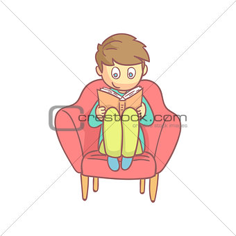 Boy Reading A Book In The Armchair