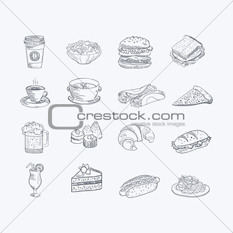 Food And Drink Hand Drawn Artistic Sketch Set