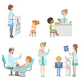 Kids On Medical Checkup Set