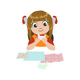 Girl Doing Origami Crane