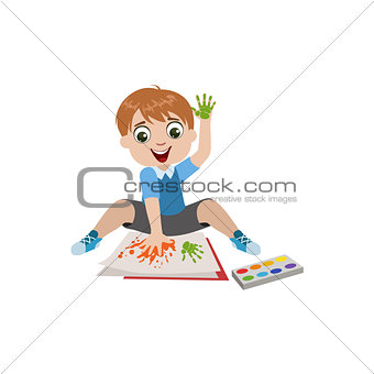 Boy Painting With Hands