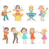 Kid Singing And Playing Music Instruments Set