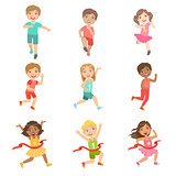Kids In Running Competition Set