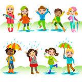 Children Enjoying The Rain