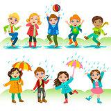 Kids Playing Under The Rain
