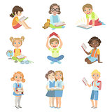Kids Reading Books Icon Set