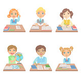 Kids Behind the Desks In School Set