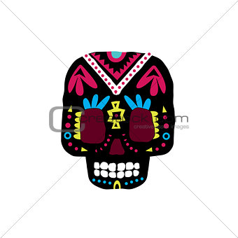 Black Traditional Mexican Painted Scull Icon