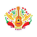 Chili Pepper, Guitar And Sombrero Stylized Colorful Pattern