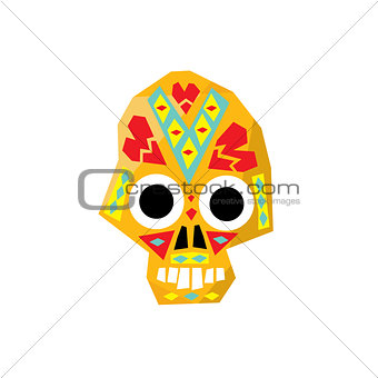 Bright Color Traditional Mexican Painted Scull Icon