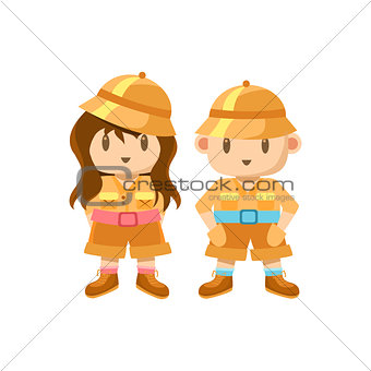 Boy And Girl Dressed As Jungle Explorers