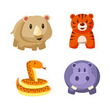 Toy African Animals Icon Set