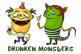 Drunken Cartoon Monsters Set