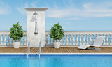 Pool near the sea with shower